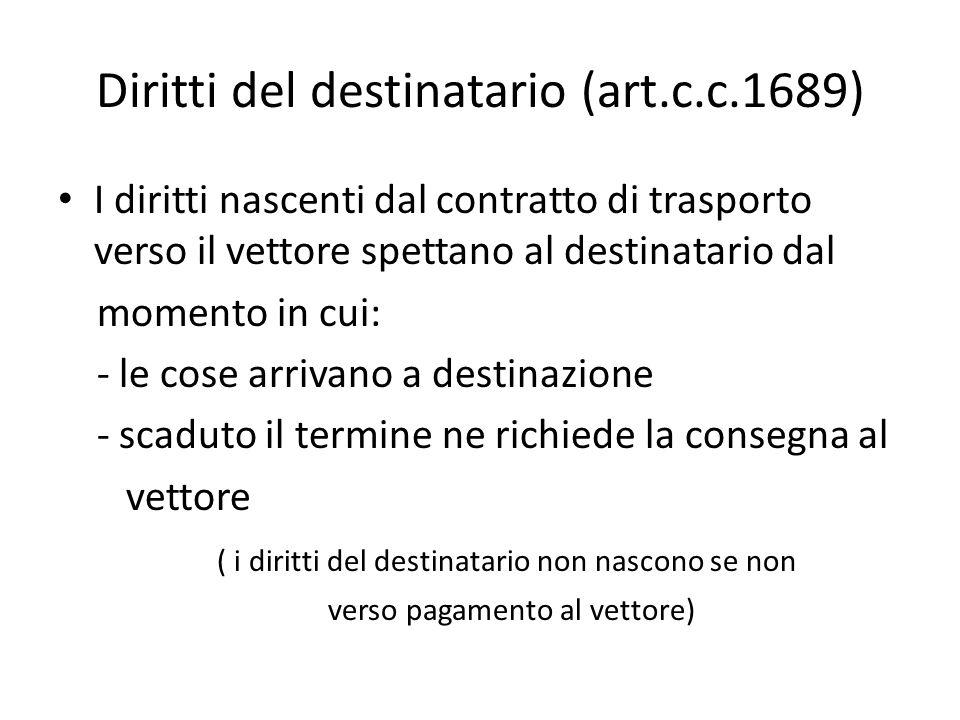 Diritti del destinatario (art.c.c.1689) I diritti nascenti dal contratto di trasporto verso il vettore spettano al destinatario dal momento in cui: -