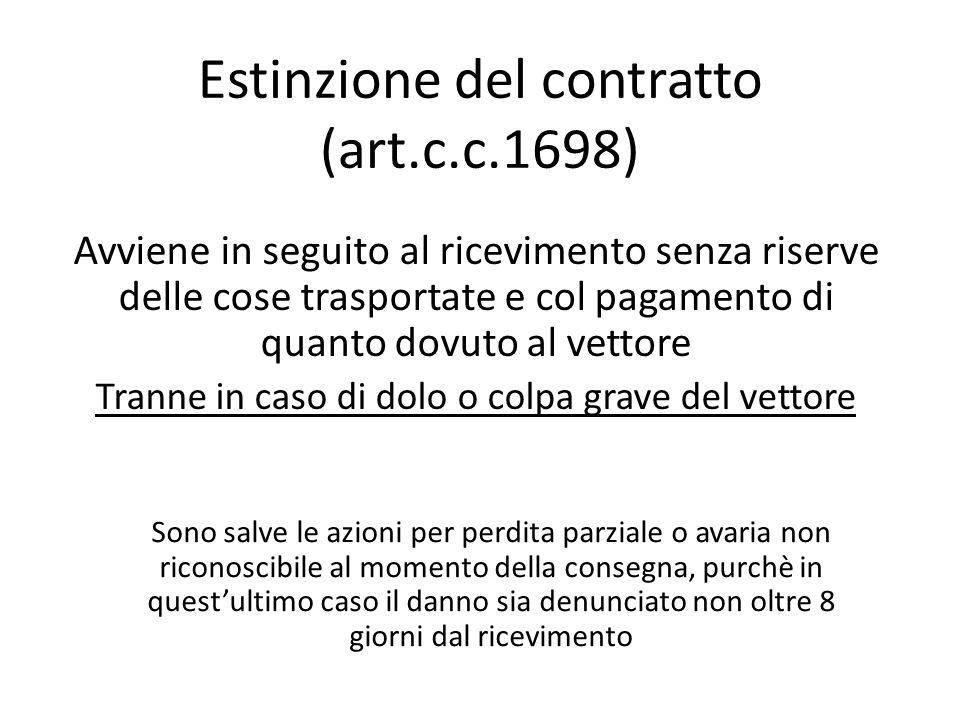 Estinzione del contratto (art.c.c.1698) Avviene in seguito al ricevimento senza riserve delle cose trasportate e col pagamento di quanto dovuto al vet