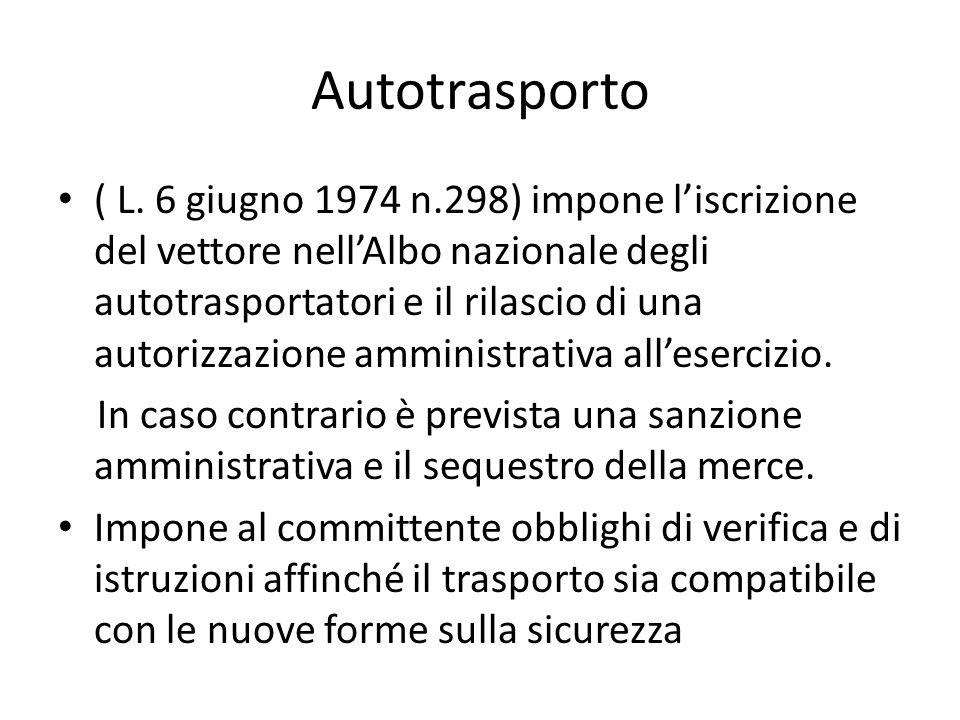 Autotrasporto ( L. 6 giugno 1974 n.298) impone liscrizione del vettore nellAlbo nazionale degli autotrasportatori e il rilascio di una autorizzazione