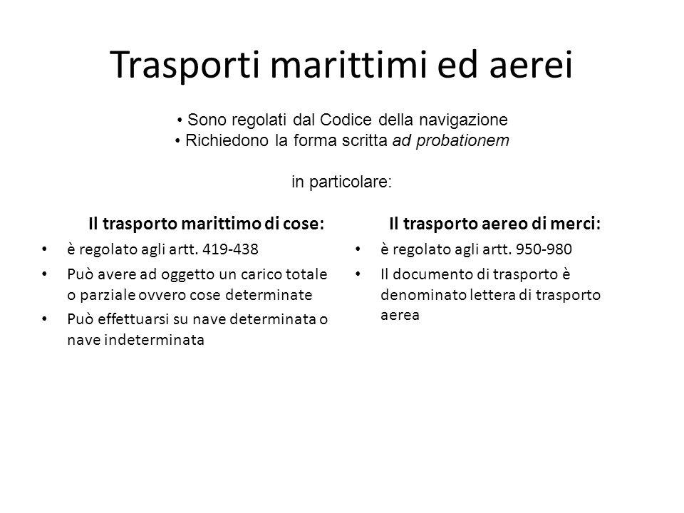 Trasporti marittimi ed aerei Il trasporto marittimo di cose: è regolato agli artt. 419-438 Può avere ad oggetto un carico totale o parziale ovvero cos