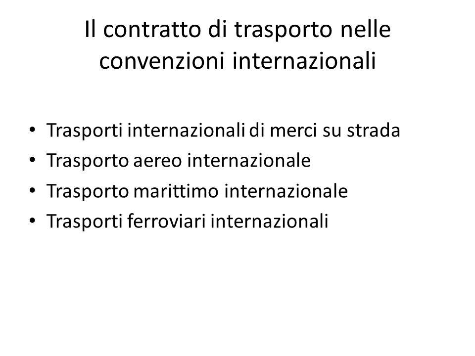 Il contratto di trasporto nelle convenzioni internazionali Trasporti internazionali di merci su strada Trasporto aereo internazionale Trasporto maritt