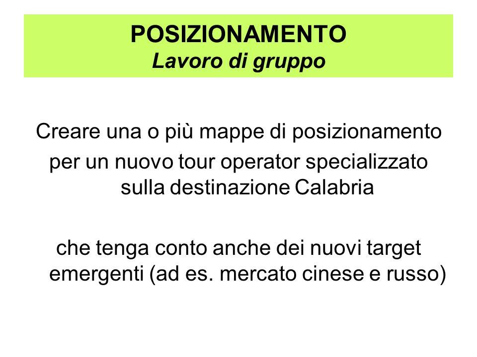 POSIZIONAMENTO Lavoro di gruppo Creare una o più mappe di posizionamento per un nuovo tour operator specializzato sulla destinazione Calabria che teng