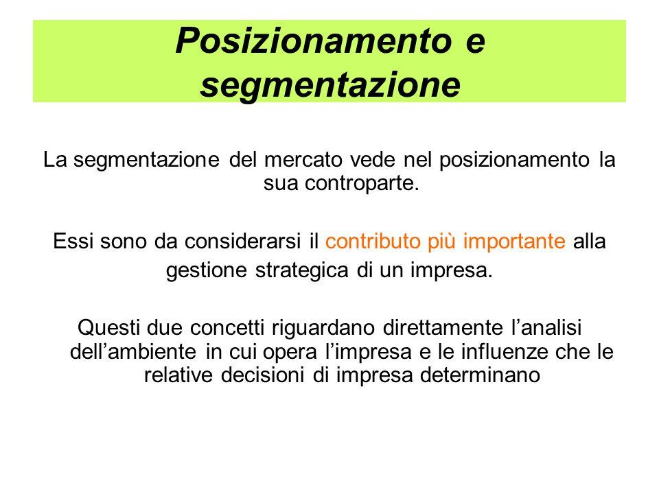 Posizionamento e segmentazione La segmentazione del mercato vede nel posizionamento la sua controparte. Essi sono da considerarsi il contributo più im