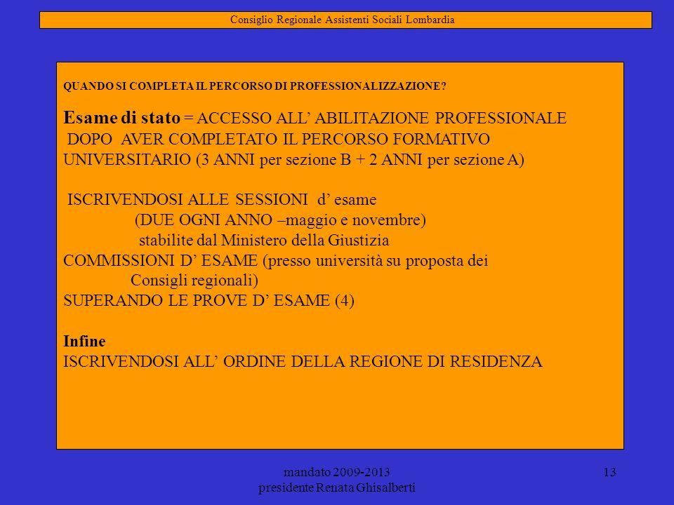 mandato 2009-2013 presidente Renata Ghisalberti 13 Consiglio Regionale Assistenti Sociali Lombardia - Proposta organizzativa mandato 2005-2009 QUANDO
