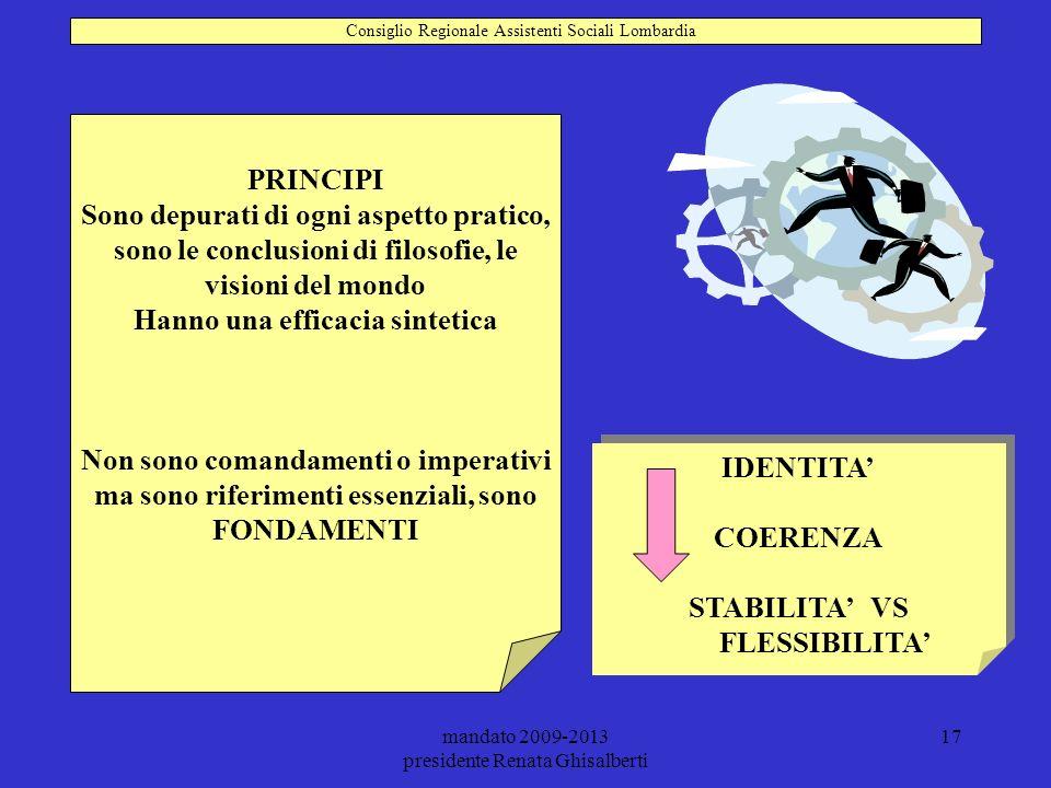 mandato 2009-2013 presidente Renata Ghisalberti 17 PRINCIPI Sono depurati di ogni aspetto pratico, sono le conclusioni di filosofie, le visioni del mo