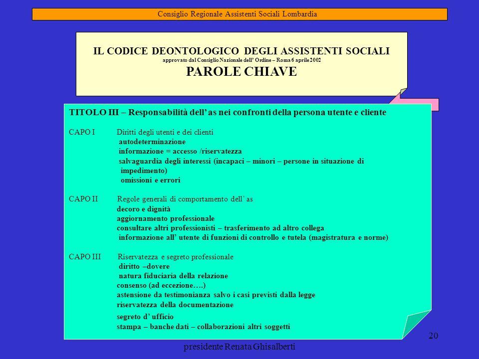 mandato 2009-2013 presidente Renata Ghisalberti 20 IL CODICE DEONTOLOGICO DEGLI ASSISTENTI SOCIALI approvato dal Consiglio Nazionale dell Ordine – Rom