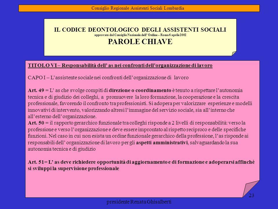 mandato 2009-2013 presidente Renata Ghisalberti 23 IL CODICE DEONTOLOGICO DEGLI ASSISTENTI SOCIALI approvato dal Consiglio Nazionale dell Ordine – Rom