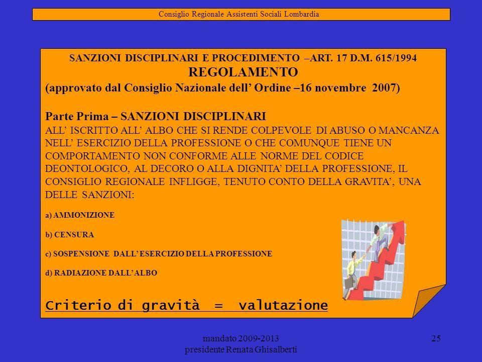 mandato 2009-2013 presidente Renata Ghisalberti 25 SANZIONI DISCIPLINARI E PROCEDIMENTO –ART. 17 D.M. 615/1994 REGOLAMENTO (approvato dal Consiglio Na