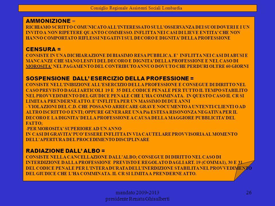 mandato 2009-2013 presidente Renata Ghisalberti 26 AMMONIZIONE = RICHIAMO SCRITTO COMUNICATO ALLINTERESSATO SULLOSSERVANZA DEI SUOI DOVERI E I UN INVI