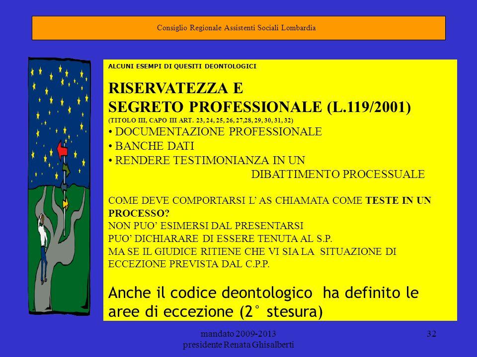 mandato 2009-2013 presidente Renata Ghisalberti 32 Consiglio Regionale Assistenti Sociali Lombardia ALCUNI ESEMPI DI QUESITI DEONTOLOGICI RISERVATEZZA