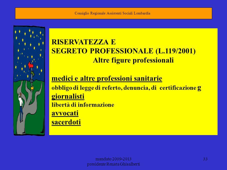 mandato 2009-2013 presidente Renata Ghisalberti 33 Consiglio Regionale Assistenti Sociali Lombardia RISERVATEZZA E SEGRETO PROFESSIONALE (L.119/2001)