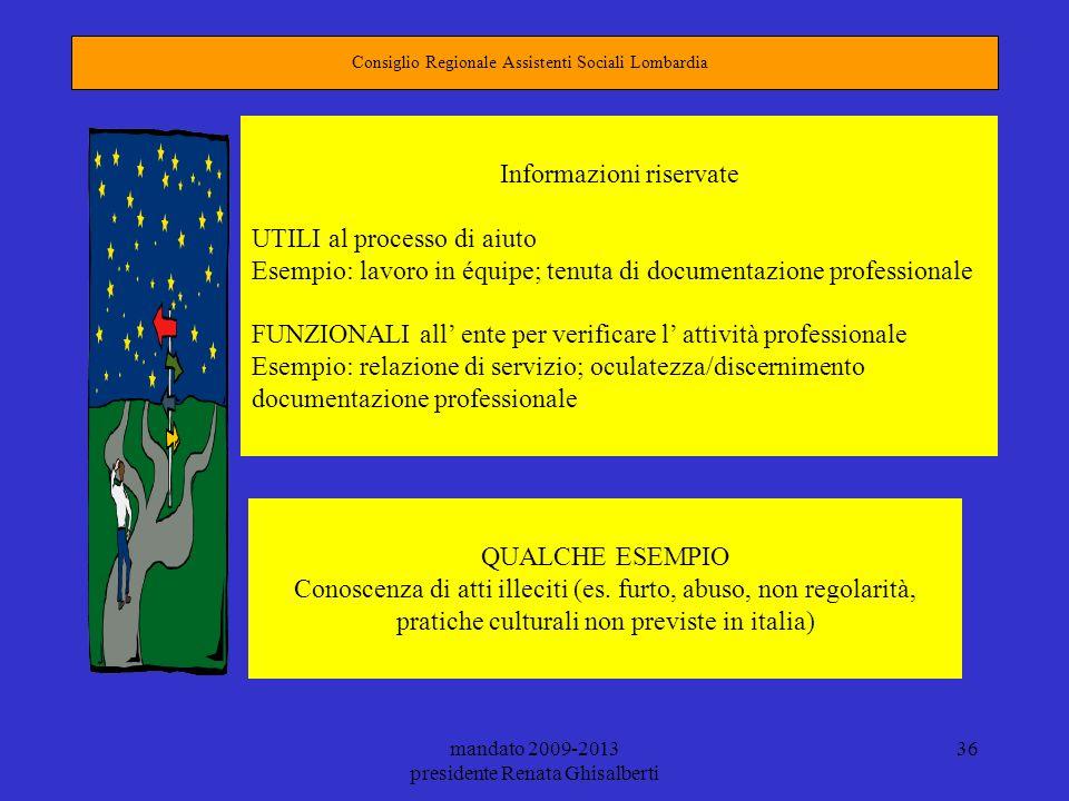 mandato 2009-2013 presidente Renata Ghisalberti 36 Consiglio Regionale Assistenti Sociali Lombardia Informazioni riservate UTILI al processo di aiuto