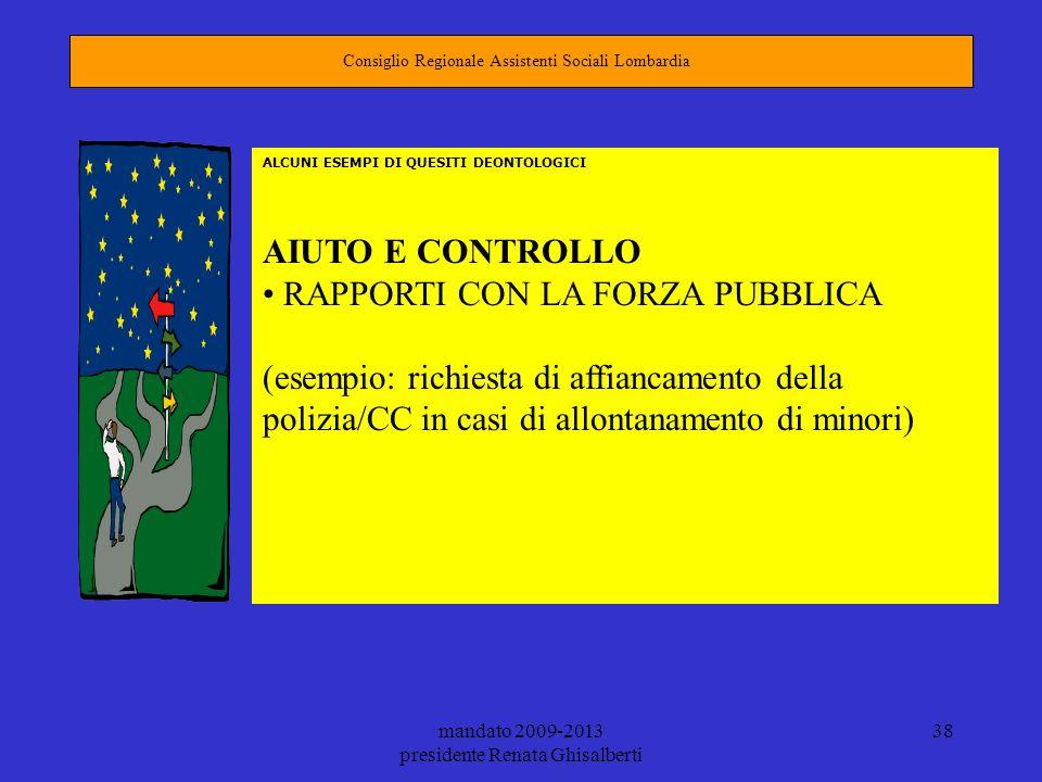 mandato 2009-2013 presidente Renata Ghisalberti 38 Consiglio Regionale Assistenti Sociali Lombardia ALCUNI ESEMPI DI QUESITI DEONTOLOGICI AIUTO E CONT