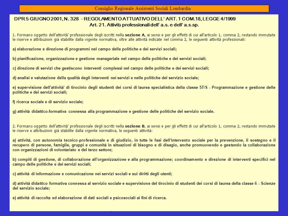 mandato 2009-2013 presidente Renata Ghisalberti 41 D.P.R. 5 Giugno 2001, n. 328 Regolamento attuativo dell'art. 1 comma 18, Legge 4/99 Modifiche ed in