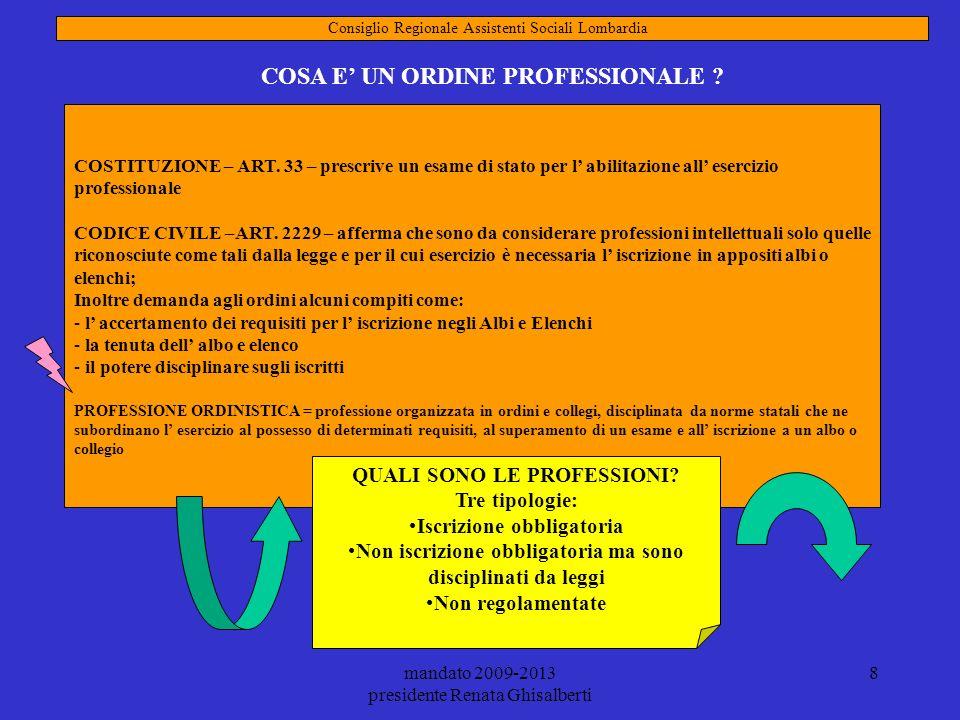 mandato 2009-2013 presidente Renata Ghisalberti 9 QUAL E LA FINALITA DI UN ORDINE PROFESSIONALE.