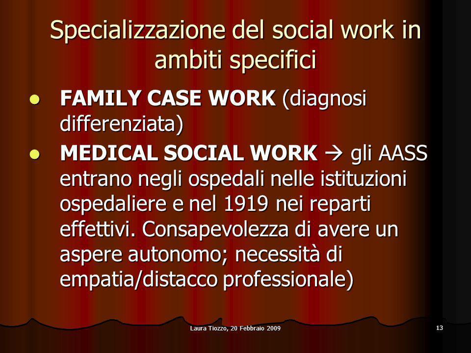 Laura Tiozzo, 20 Febbraio 2009 13 Specializzazione del social work in ambiti specifici FAMILY CASE WORK (diagnosi differenziata) FAMILY CASE WORK (dia