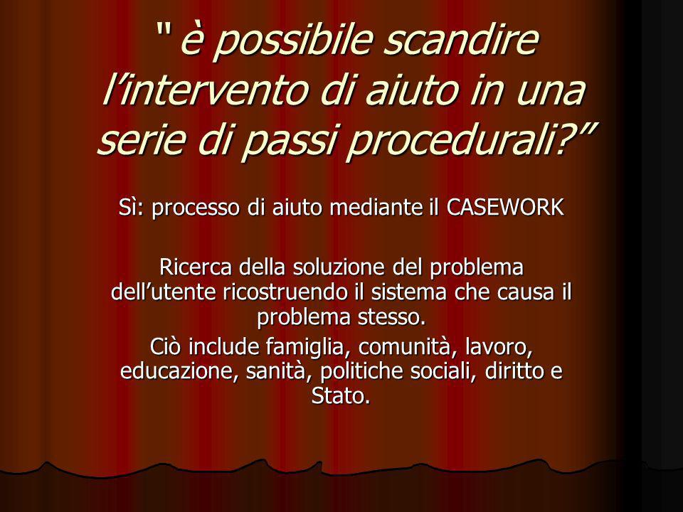 è possibile scandire lintervento di aiuto in una serie di passi procedurali? è possibile scandire lintervento di aiuto in una serie di passi procedura