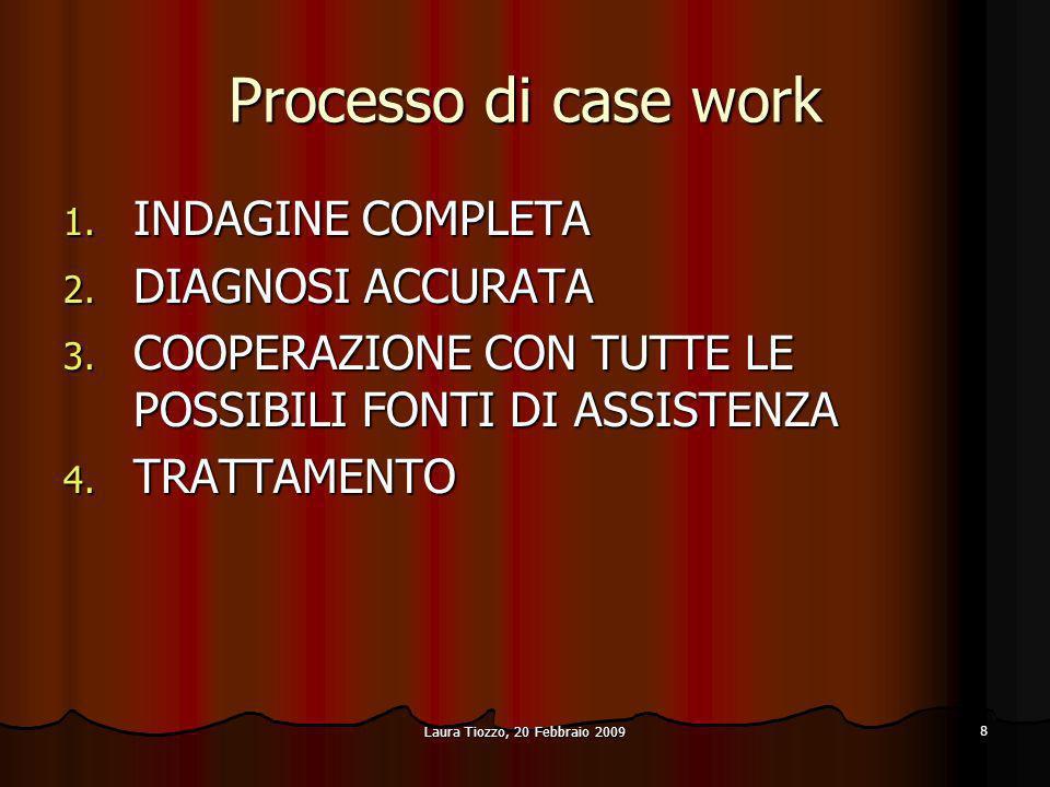 Laura Tiozzo, 20 Febbraio 2009 8 Processo di case work 1. INDAGINE COMPLETA 2. DIAGNOSI ACCURATA 3. COOPERAZIONE CON TUTTE LE POSSIBILI FONTI DI ASSIS