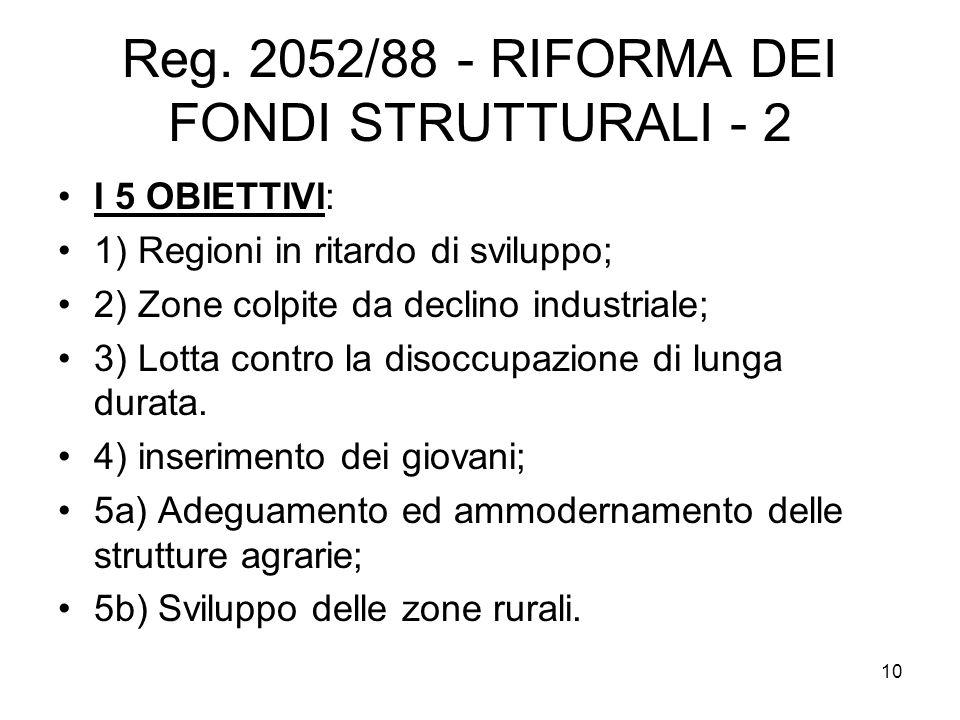 10 Reg. 2052/88 - RIFORMA DEI FONDI STRUTTURALI - 2 I 5 OBIETTIVI: 1) Regioni in ritardo di sviluppo; 2) Zone colpite da declino industriale; 3) Lotta