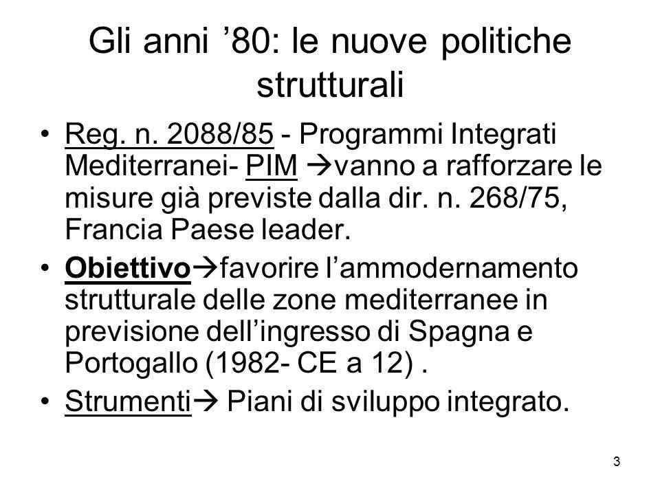 3 Gli anni 80: le nuove politiche strutturali Reg. n. 2088/85 - Programmi Integrati Mediterranei- PIM vanno a rafforzare le misure già previste dalla