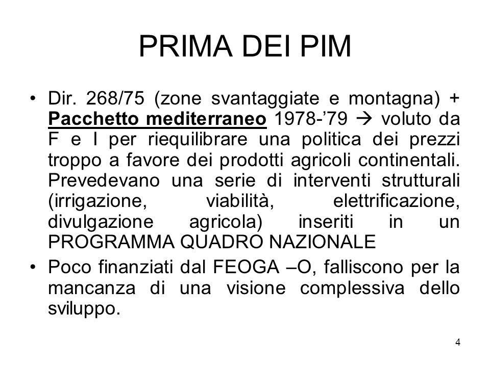 4 PRIMA DEI PIM Dir. 268/75 (zone svantaggiate e montagna) + Pacchetto mediterraneo 1978-79 voluto da F e I per riequilibrare una politica dei prezzi