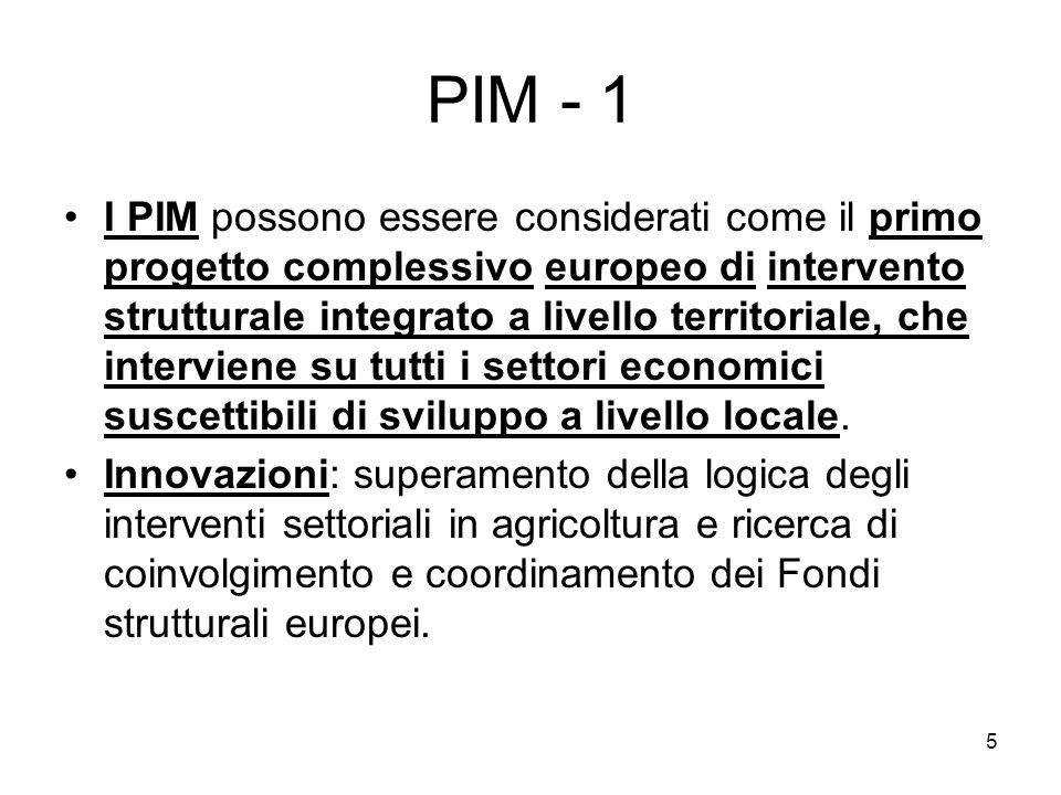 5 PIM - 1 I PIM possono essere considerati come il primo progetto complessivo europeo di intervento strutturale integrato a livello territoriale, che