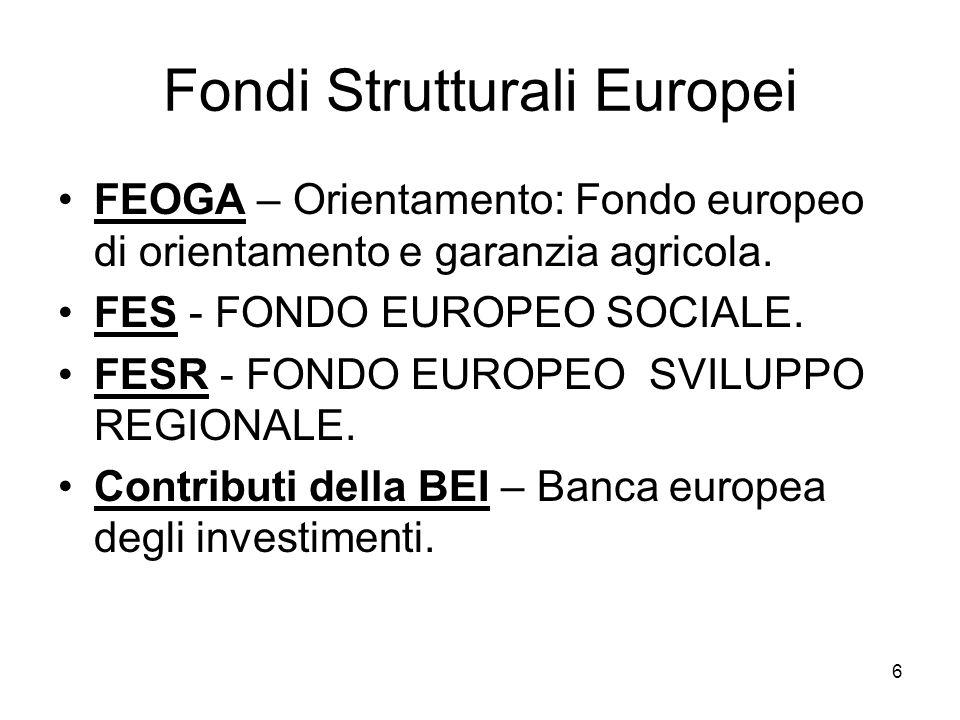 6 Fondi Strutturali Europei FEOGA – Orientamento: Fondo europeo di orientamento e garanzia agricola. FES - FONDO EUROPEO SOCIALE. FESR - FONDO EUROPEO