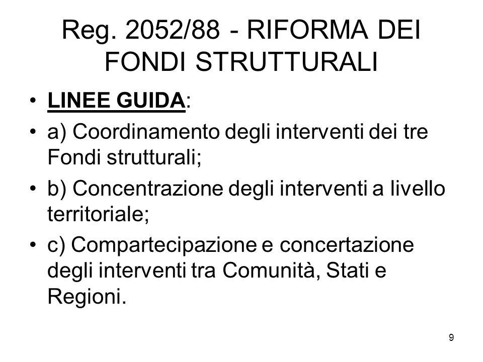9 Reg. 2052/88 - RIFORMA DEI FONDI STRUTTURALI LINEE GUIDA: a) Coordinamento degli interventi dei tre Fondi strutturali; b) Concentrazione degli inter
