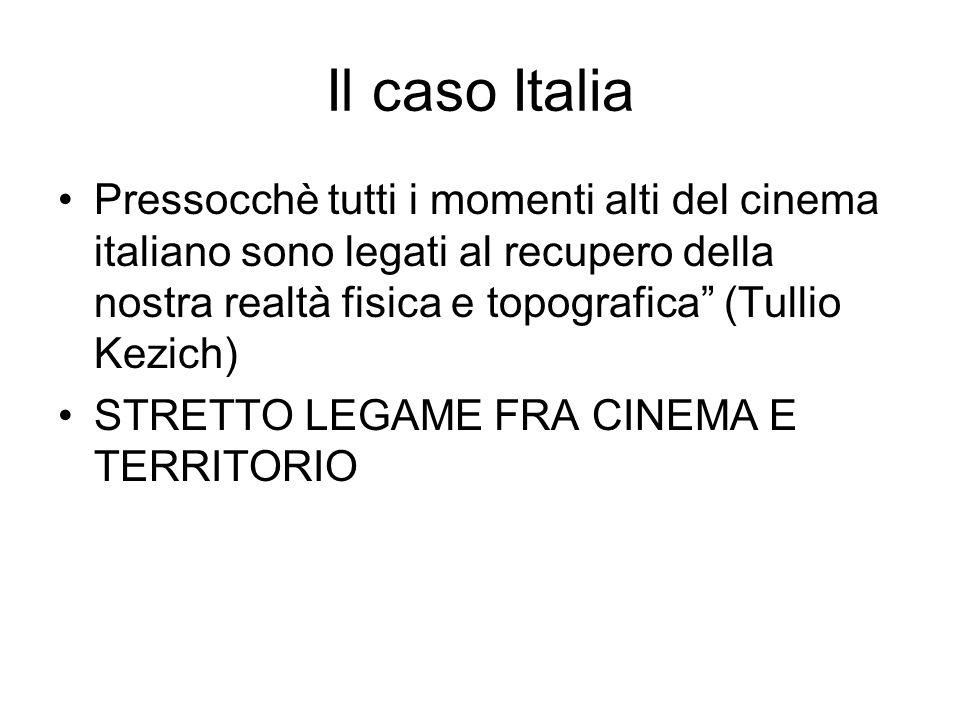 Pressocchè tutti i momenti alti del cinema italiano sono legati al recupero della nostra realtà fisica e topografica (Tullio Kezich) STRETTO LEGAME FRA CINEMA E TERRITORIO