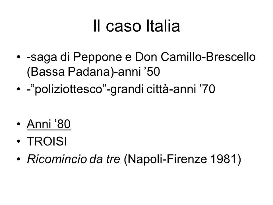 Il caso Italia -saga di Peppone e Don Camillo-Brescello (Bassa Padana)-anni 50 -poliziottesco-grandi città-anni 70 Anni 80 TROISI Ricomincio da tre (Napoli-Firenze 1981)
