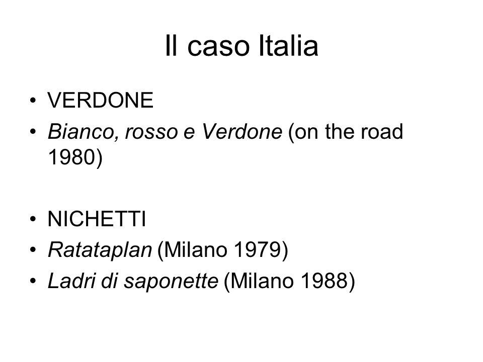 Il caso Italia VERDONE Bianco, rosso e Verdone (on the road 1980) NICHETTI Ratataplan (Milano 1979) Ladri di saponette (Milano 1988)