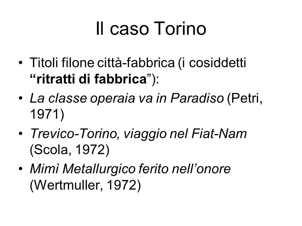 Il caso Torino Titoli filone città-fabbrica (i cosiddetti ritratti di fabbrica): La classe operaia va in Paradiso (Petri, 1971) Trevico-Torino, viaggio nel Fiat-Nam (Scola, 1972) Mimì Metallurgico ferito nellonore (Wertmuller, 1972)