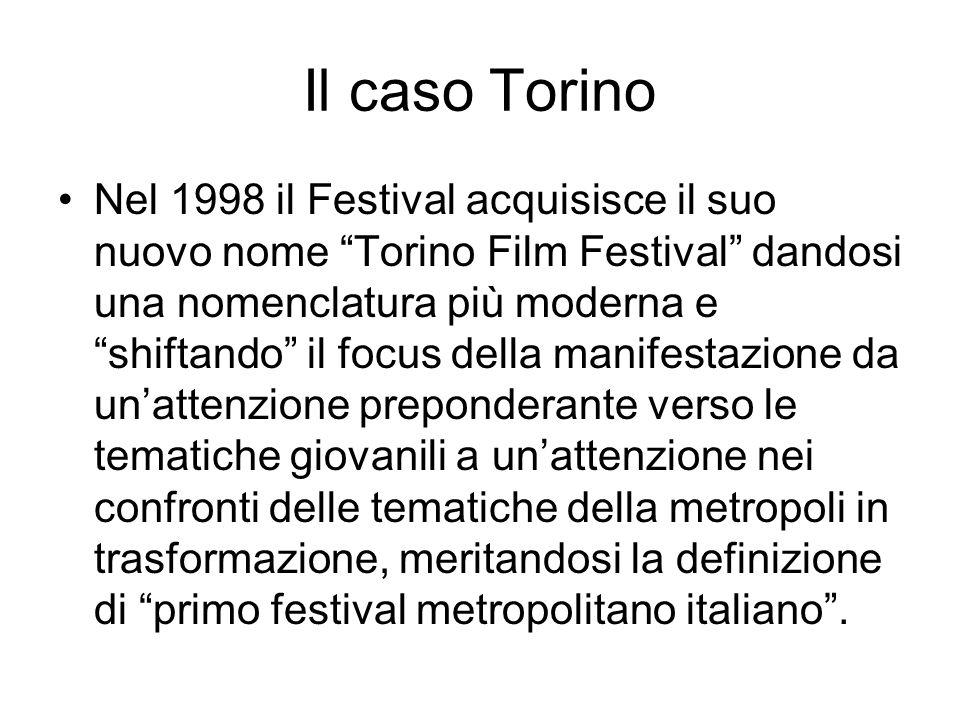 Il caso Torino Nel 1998 il Festival acquisisce il suo nuovo nome Torino Film Festival dandosi una nomenclatura più moderna e shiftando il focus della manifestazione da unattenzione preponderante verso le tematiche giovanili a unattenzione nei confronti delle tematiche della metropoli in trasformazione, meritandosi la definizione di primo festival metropolitano italiano.