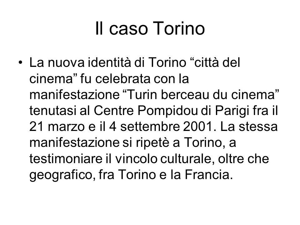 Il caso Torino La nuova identità di Torino città del cinema fu celebrata con la manifestazione Turin berceau du cinema tenutasi al Centre Pompidou di Parigi fra il 21 marzo e il 4 settembre 2001.