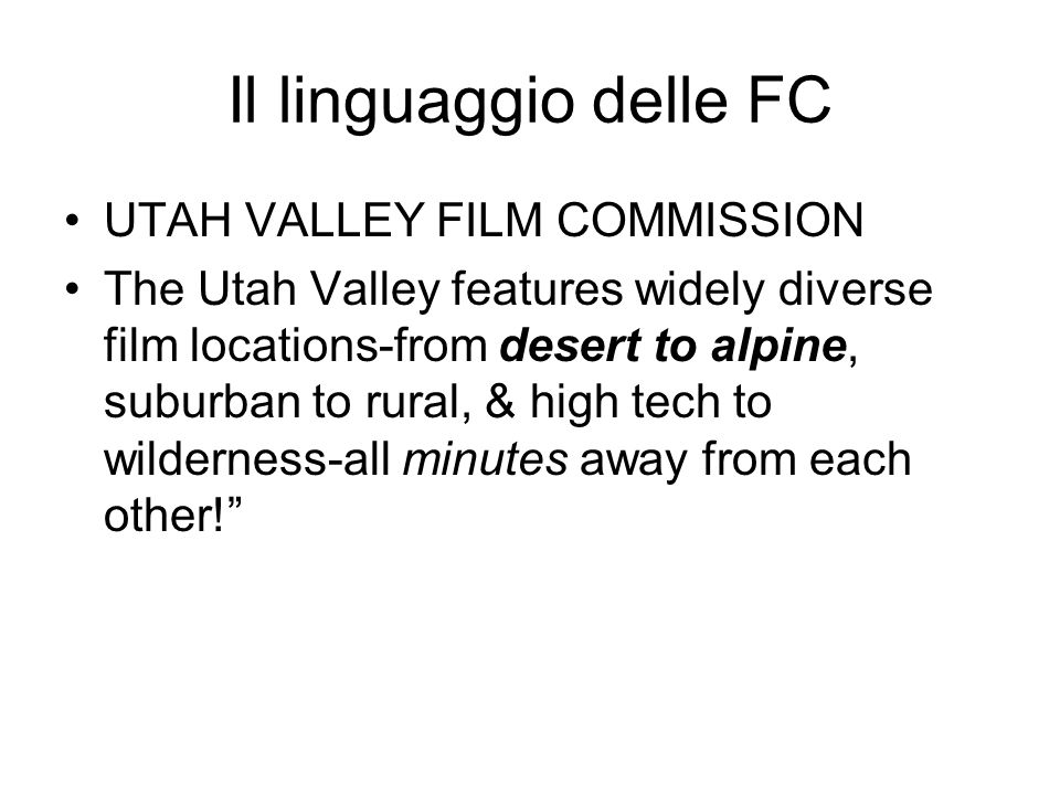 Il linguaggio delle FC SOUTH CAROLINA FILM COMMISSION: Urban and rural.