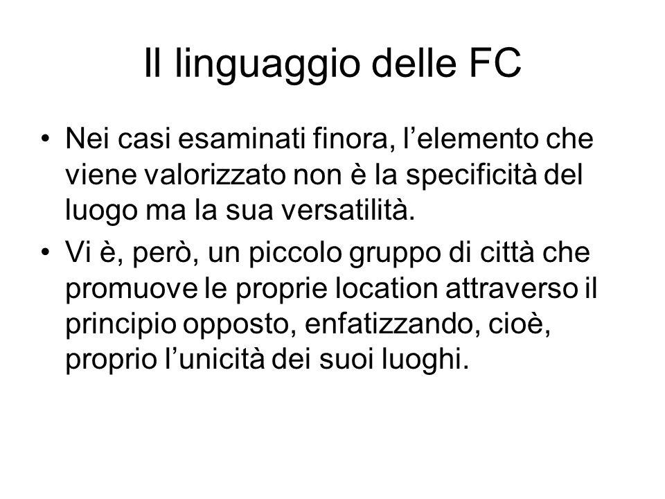 Il linguaggio delle FC Nei casi esaminati finora, lelemento che viene valorizzato non è la specificità del luogo ma la sua versatilità.
