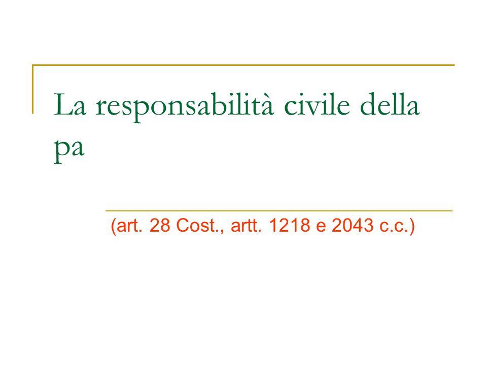 La responsabilità civile della pa (art. 28 Cost., artt. 1218 e 2043 c.c.)