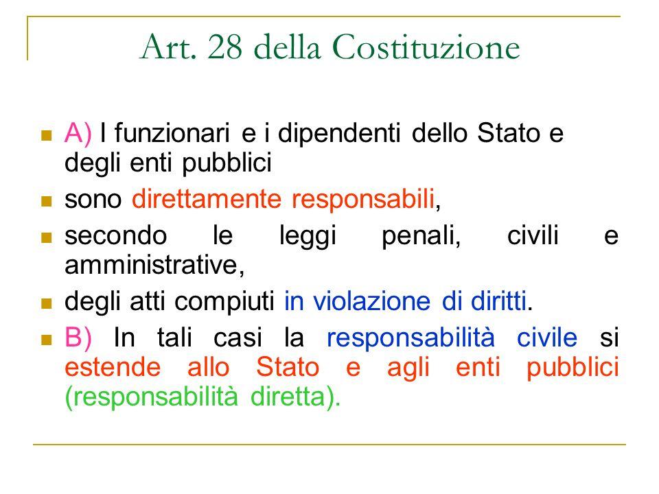 Art. 28 della Costituzione A) I funzionari e i dipendenti dello Stato e degli enti pubblici sono direttamente responsabili, secondo le leggi penali, c