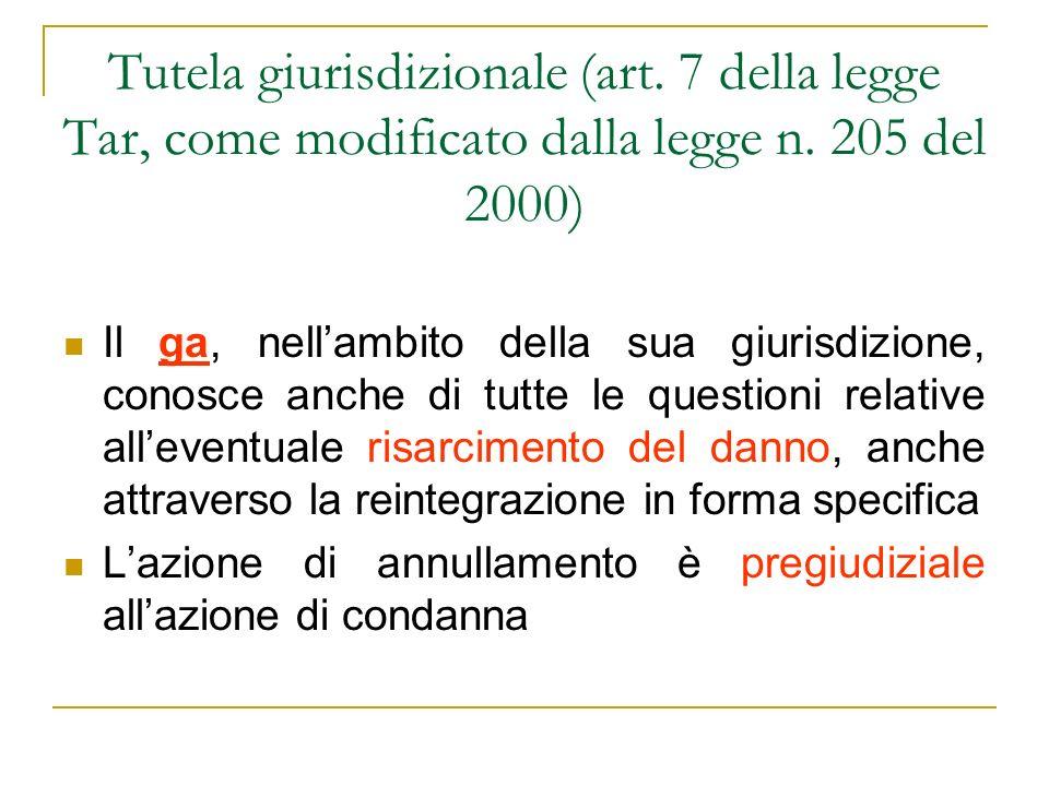 Tutela giurisdizionale (art.7 della legge Tar, come modificato dalla legge n.