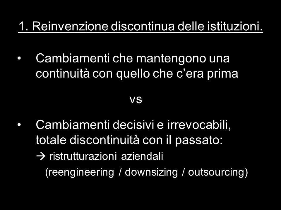 1. Reinvenzione discontinua delle istituzioni.