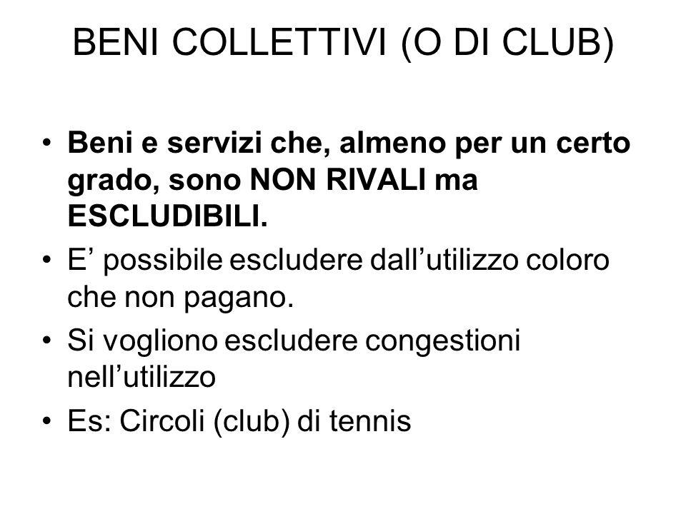 BENI COLLETTIVI (O DI CLUB) Beni e servizi che, almeno per un certo grado, sono NON RIVALI ma ESCLUDIBILI.