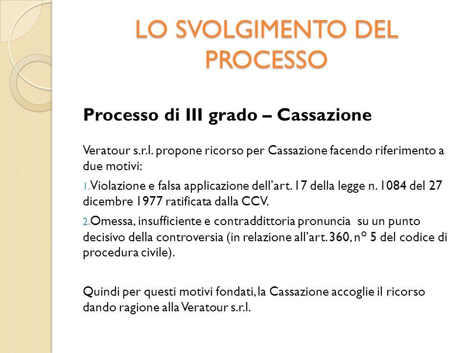 LO SVOLGIMENTO DEL PROCESSO Processo di III grado – Cassazione Veratour s.r.l.