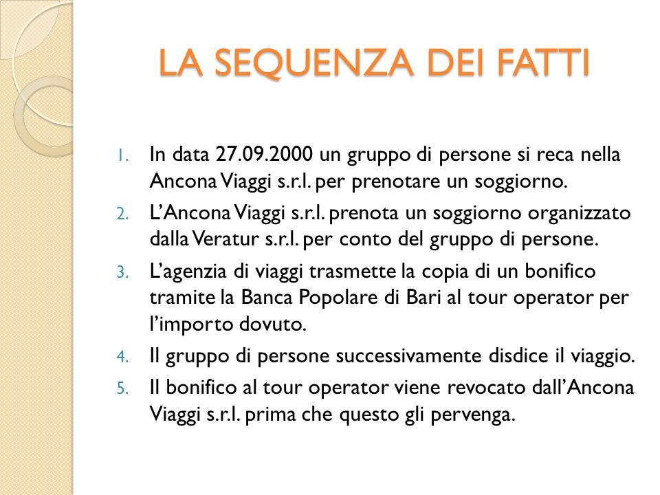 LA SEQUENZA DEI FATTI 1. In data 27.09.2000 un gruppo di persone si reca nella Ancona Viaggi s.r.l.