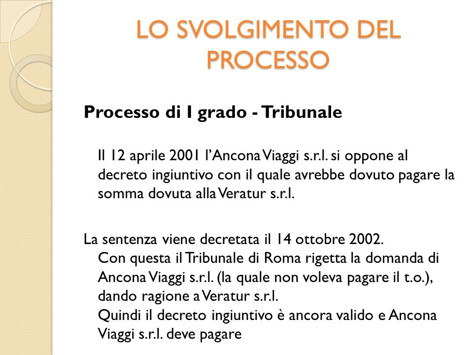 LO SVOLGIMENTO DEL PROCESSO Processo di I grado - Tribunale Il 12 aprile 2001 lAncona Viaggi s.r.l.