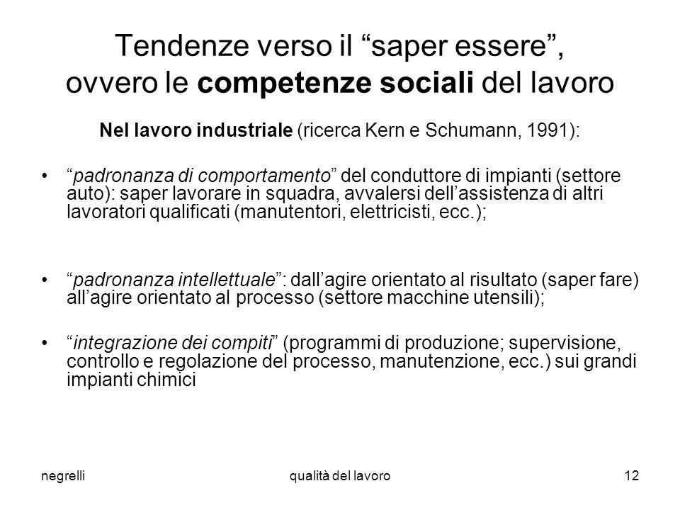 negrelliqualità del lavoro12 Tendenze verso il saper essere, ovvero le competenze sociali del lavoro Nel lavoro industriale (ricerca Kern e Schumann,