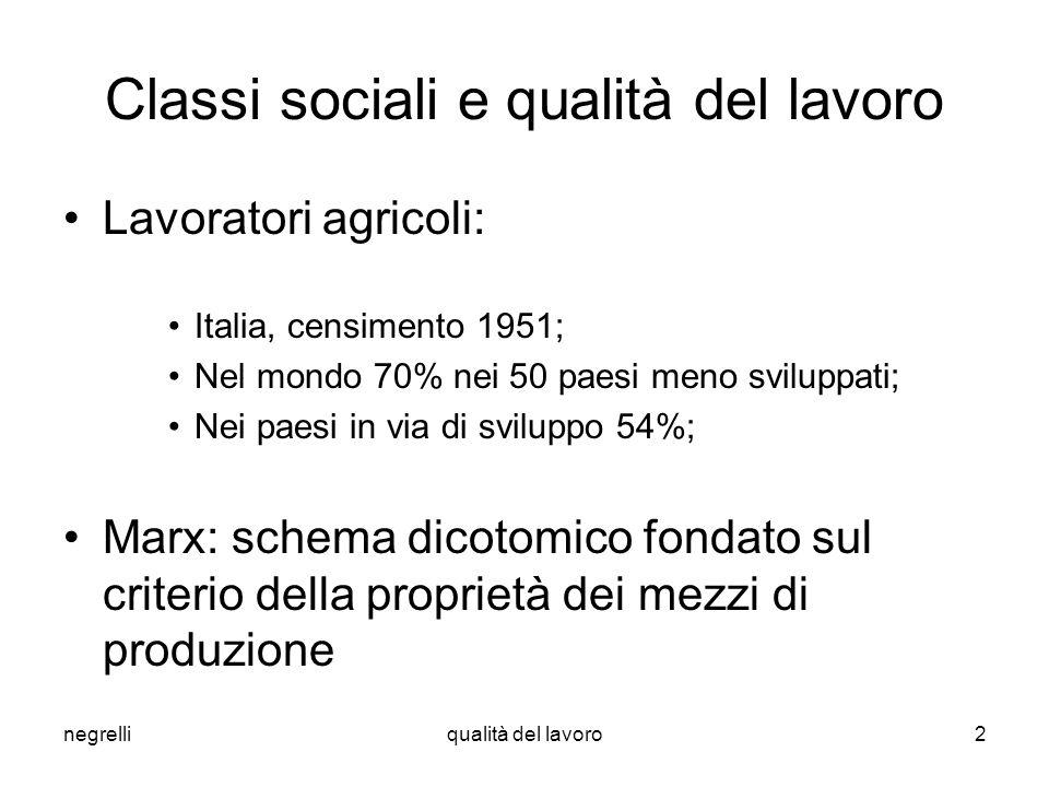 negrelliqualità del lavoro2 Classi sociali e qualità del lavoro Lavoratori agricoli: Italia, censimento 1951; Nel mondo 70% nei 50 paesi meno sviluppa
