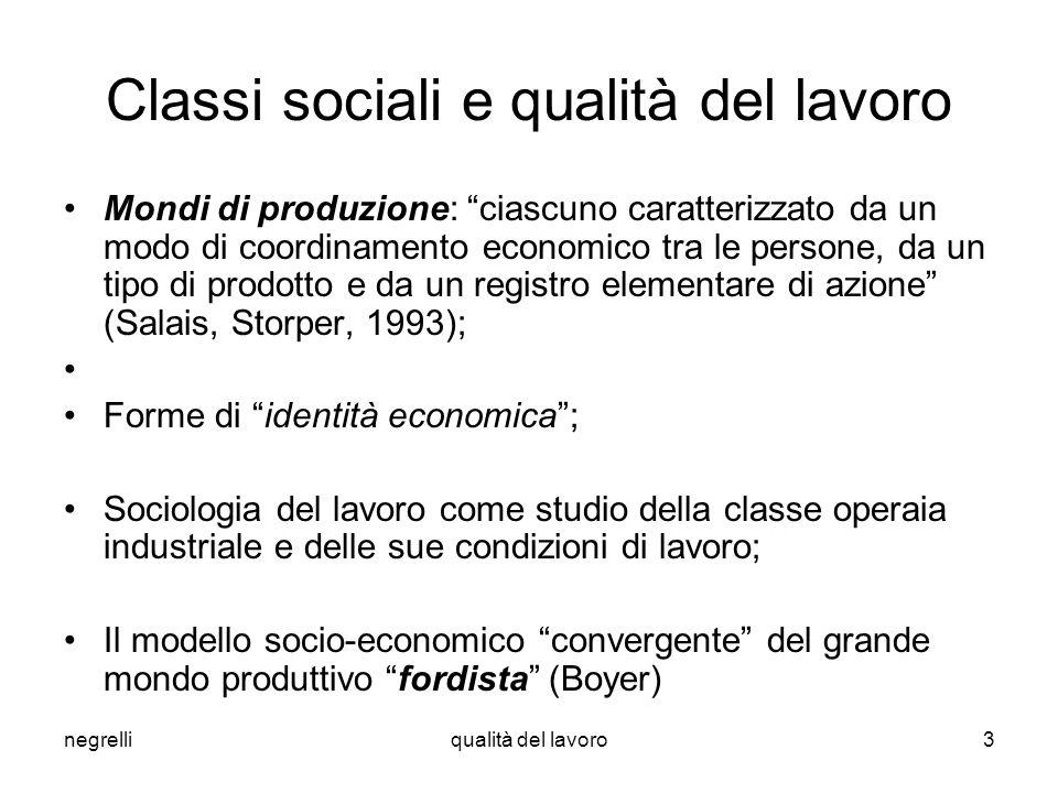 negrelliqualità del lavoro3 Classi sociali e qualità del lavoro Mondi di produzione: ciascuno caratterizzato da un modo di coordinamento economico tra