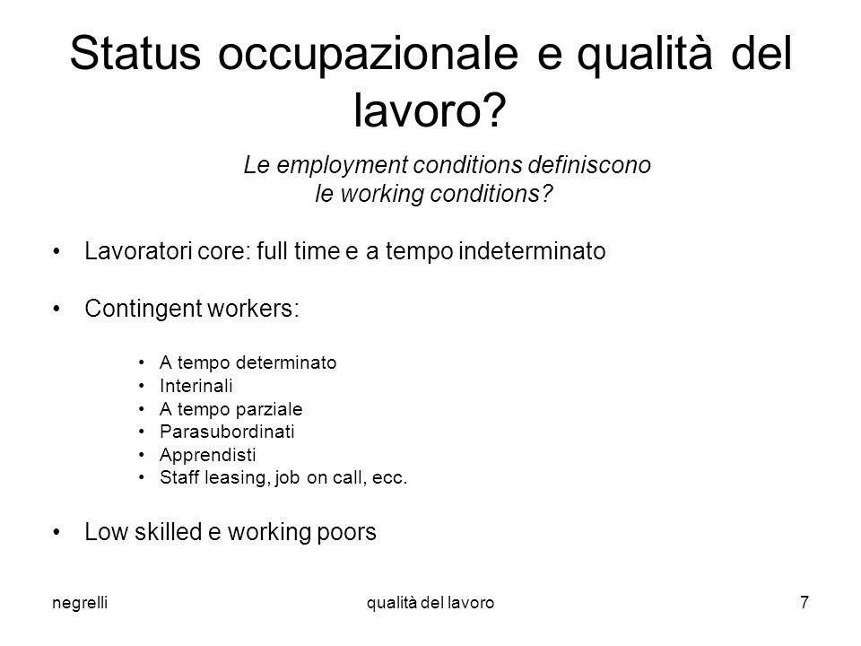 negrelliqualità del lavoro7 Status occupazionale e qualità del lavoro? Le employment conditions definiscono le working conditions? Lavoratori core: fu