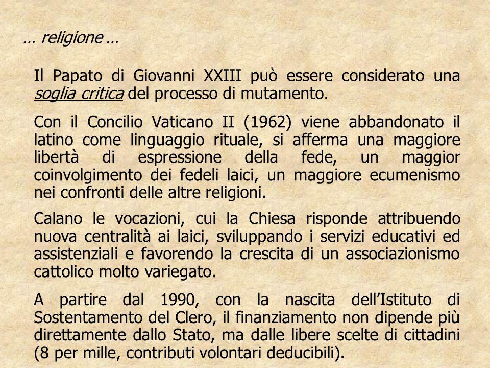 … religione … Il Papato di Giovanni XXIII può essere considerato una soglia critica del processo di mutamento.