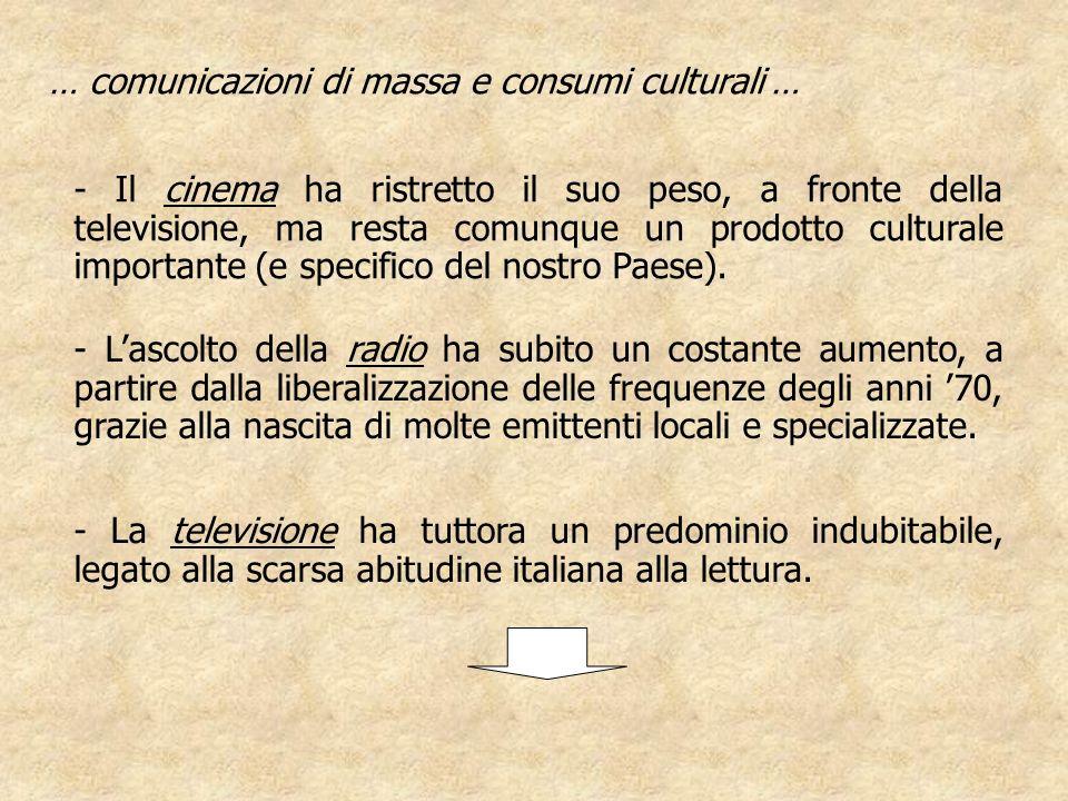 … comunicazioni di massa e consumi culturali … - Lascolto della radio ha subito un costante aumento, a partire dalla liberalizzazione delle frequenze degli anni 70, grazie alla nascita di molte emittenti locali e specializzate.